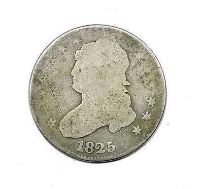 1825/4 Capped Bust Quarter Average Circulated Condition 25c Silver
