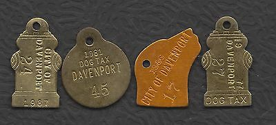 Dog license tax tags, Davenport NE,  different years, figural, low numbers