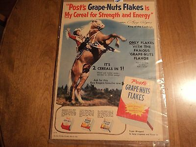 1954 Post Grape Nut Flakes Cereal Roy Rogers Magazine Ad Cowboy T V 10 X 14