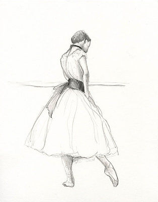 Ballerina 23 - Original Pencil Drawing Classical signed - 8x10 inch / A4  by E.C
