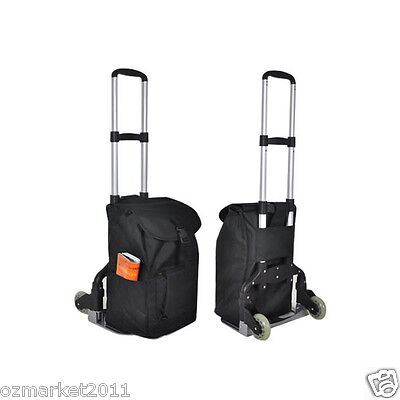 * New Black Bag Two Wheels Convenient Collapsible Shopping Luggage Trolleys