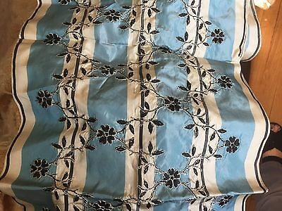 "ANTIQUE SILK FABRIC RIBBON EMBROIDERED 11.5"" X 60"" Blue White Black"