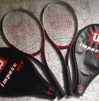 2 X Wilson Impact Ace 27 Tennis Rackets Used Once Each