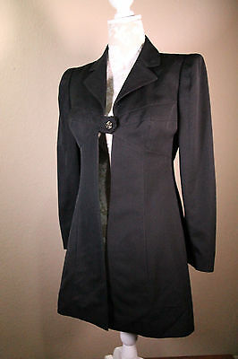 Vintage Karl Lagerfeld Long Black Structured Dress Blazer Size 40 France
