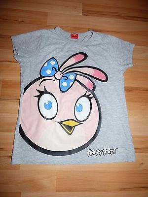 ANGRY BIRDS Girls Age 11-12 Grey Short Sleeve Crew Neck T Shirt