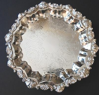 "Sheridan Silver Plate 13"" Footed Salver Tray Elegant Ornate Silverplated"
