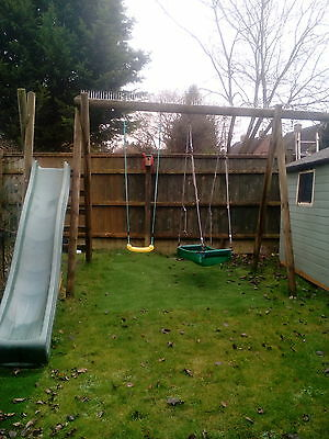 solid wooden double swing and slide set