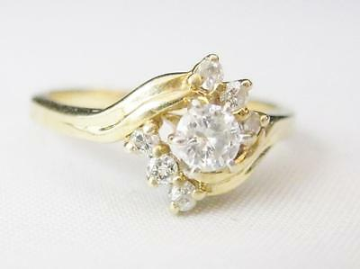 14K Yellow Gold .25 Cttw. Diamond Ring .20 Ct. Center Diamond