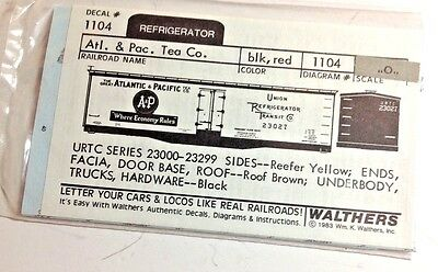 O Scale Decals -  Walthers -  #1104 - A&P Reefer