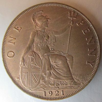 Great Britain, 1921 Copper Penny 1d, Choice!