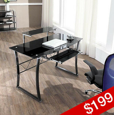 GAMMA Contemporary Glass Workstation, Computer Desk, OUT OF STOCK