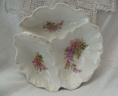 Lilacs on this Victorian/Edwardian Handled dish with 3 Compartments