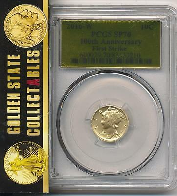 2016 W .10 Gold Centennial Dime Pcgs Sp70 First Strike Gold Foil Label+ Ogp