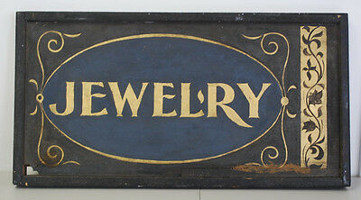 Antique Vintage Sand Paint on Wood Gold Paint Jewelry Store Sign - Free Shipping