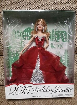 2015 Holiday Barbie White Doll Blonde Hair Red Dress - New in Box