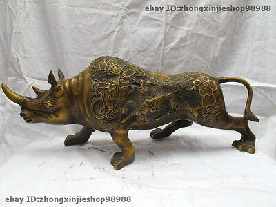 """24""""China Feng shui Bronze Wealth Rhinoceros Ox States carved Kylin Lucky flower"""