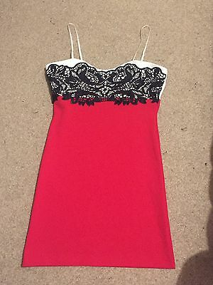 Topshop Boutique - Cream, Red And Black Bodycon Dress, Size 10-12