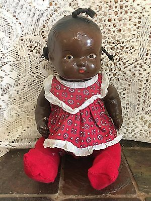 Antique Black Americana Composition Baby Doll As Is Articulated Germany