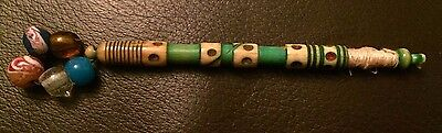 Antique / Vintage Lace Bobbin - Bone - Dyed Green - With Domino Dots And Hoops