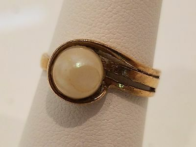 Victorian 10k gold pearl ring