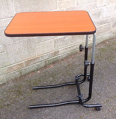 Disability Over Bed Over Chair Table - Adjustable Height On Castors