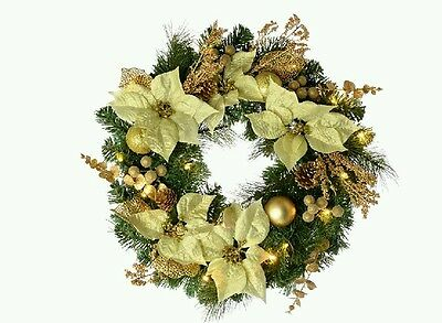WeRChristmas 60 Cm Decorated Pre-Lit Wreath Christmas Decoration Illuminated 20