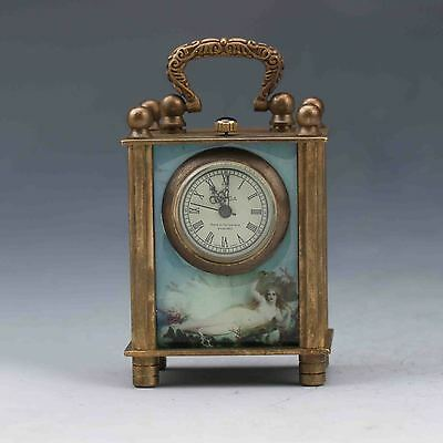 Collectible Old Chinese Cloisonne Handwork Mechanical Table Clock Z974