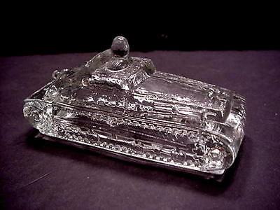 Vintage Victory Glass Army Tank Candy Container