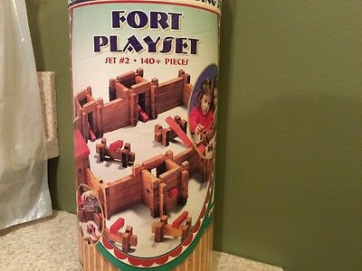 ROY TOY REAL WOOD Vintage FORT BUILDING PLAY SET USA made  191pc.