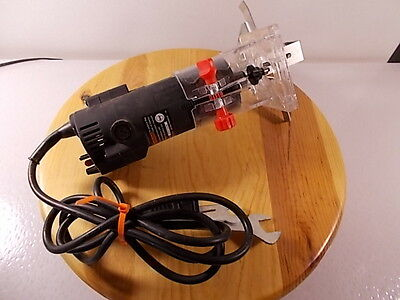 "Used Corded Electric Drill Master 1/4"" Trim Router With Fence Bit Wrenches Gauge"