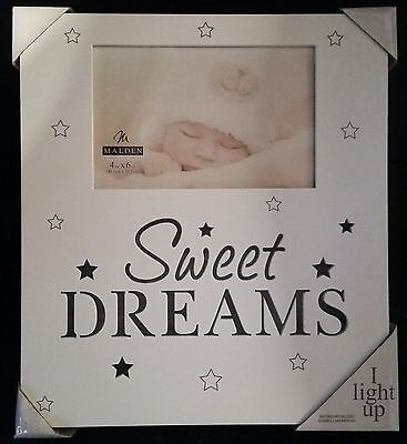 "Sweet Dreams Baby Picture Frame 4x6  Stars "" LIGHTS UP"" Retail $39.99 NEW"