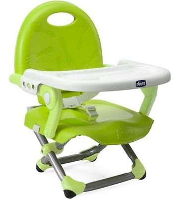 Chicco Pocket Snack Booster Seat Lightweight Portable Highchair - Lime Green new