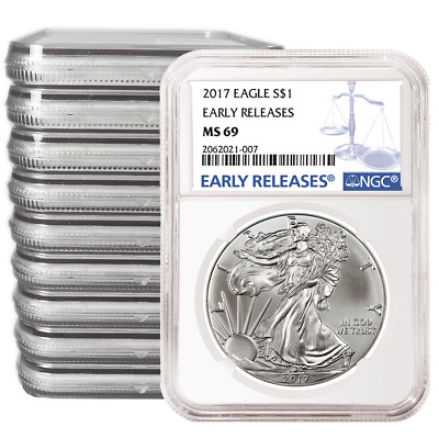 Lot of 10 - 2017 $1 American Silver Eagle NGC MS69 Early Releases Blue ER Label