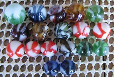 Marbles: Lot of 18 Vintage German Striped Transparents & Opaques - All Mint