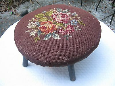 Antique Hand Crafted Cross Stitch Foot Stool