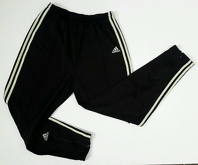 Adidas Soccer Track Pants Size Xl Stretch Black Tapered Leg Banded Zip Ankle