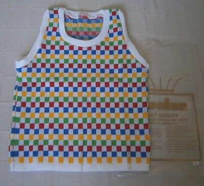 """Vintage Tank Top - Age15-16 -32"""" Chest - White/Multi Squares -Acrylic-Danish-New"""