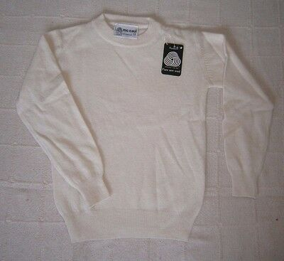 """Vintage Pure New Lambswool Sweater - 28"""" Chest - 8-9 Years Approx -White  - New"""