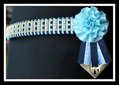 Double Blue Carnation Bling Browband Cob Size Special