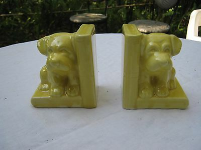 Antique Ceramic Puppy Dog Bookends Small RARE Japan Canary Yellow