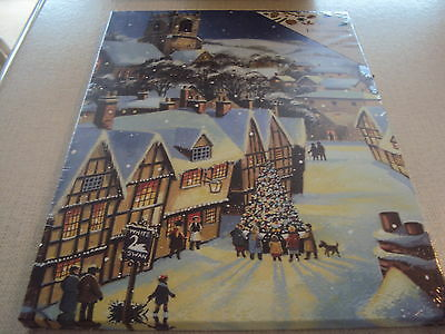 LED Light Up Christmas Village Scene Canvas Picture Decoration 30 x 40 cms - New