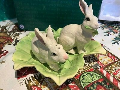 FITZ & FLOYD - LE LAPIN - easter bunnies Salt and pepper shaker and tray NIB