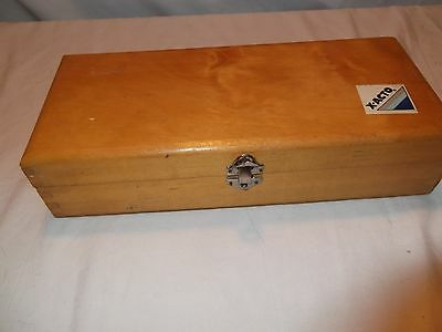 Vintage Exacto knife box, solid wood, hinged lid, dove tailed corners
