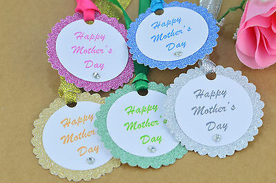 5x HAPPY MOTHERS DAY GIFT TAGS LABELS STICKERS WRAPPING VINTAGE RUSTIC W RIBBON