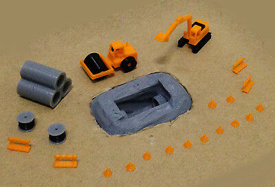 Outland Models Railway Road Pipe Work Site Accessories and Vehicles Set Z Gauge