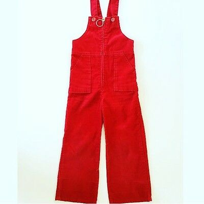 Vintage Bellbottom Flared Red Corduroy Overalls Dungarees 4T 5T