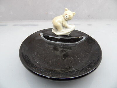 Whimsie WADE   BEAR CUB ON BLACK  ' WHIM TRAY' PIN or  TRINKET  DISH  PERFECT