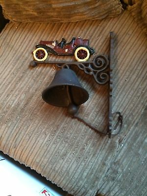 Cast iron vintage car wall bell with bracket
