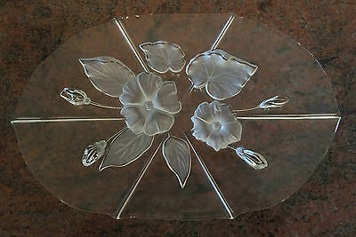 Mikasa 'Evita' Frosted Floral Glass Platter Plate 41cm long