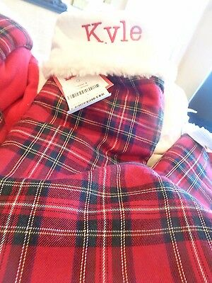 "Pottery Barn Plaid Christmas stocking monogrammed ""Kyle"" New"